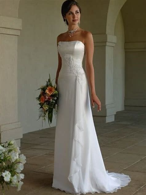 6 Gorgeous Strapless Wedding Gowns by White Simple Cheap Custom Made Strapless Satin Sheath