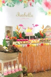 dessert table from a tropical hawaiian flamingo via