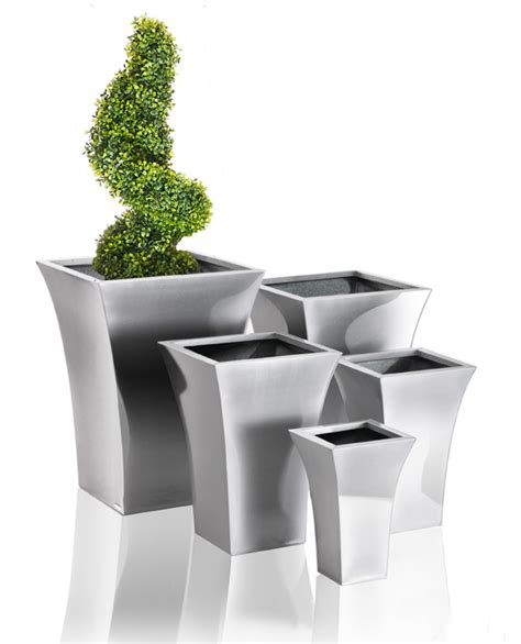 Large Silver Planters by Zinc Galvanised Silver Flared Square Planter Large H56cm