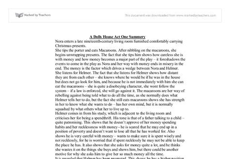 a doll house full text pdf a dolls house act one summary a level drama marked by teachers com