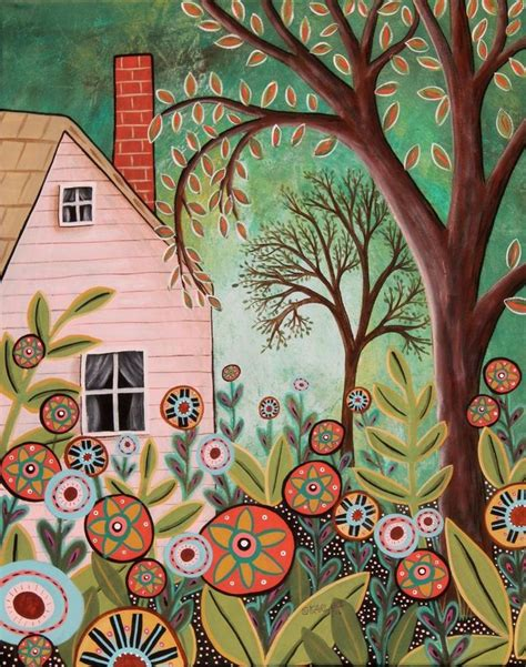 cottage garden original painting 16x20 folk art house