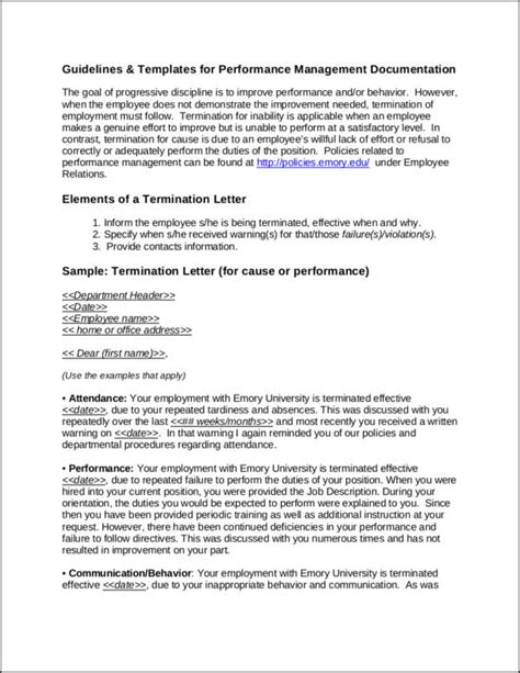 termination letter format for non performance 37 free termination letter sles templates free