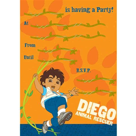 Dora Wall Stickers 10 cartes d invitation go diego go anniversaire enfants