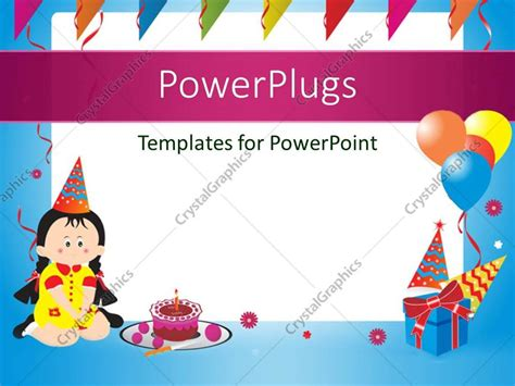 free templates for powerpoint cakes powerpoint template blue birthday frame with balloons