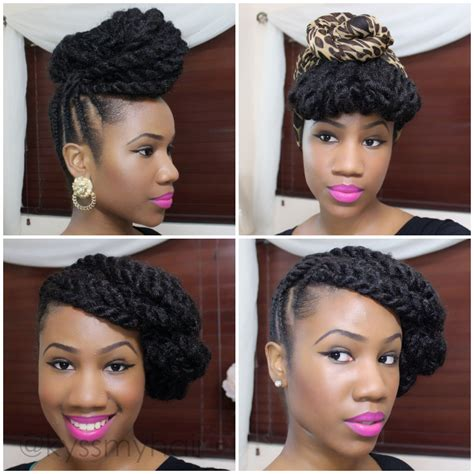 hairstyles using marley hair braided updo on natural hair using marley hair kyss my
