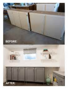 Salvaged kitchen cabinets with flat panel doors