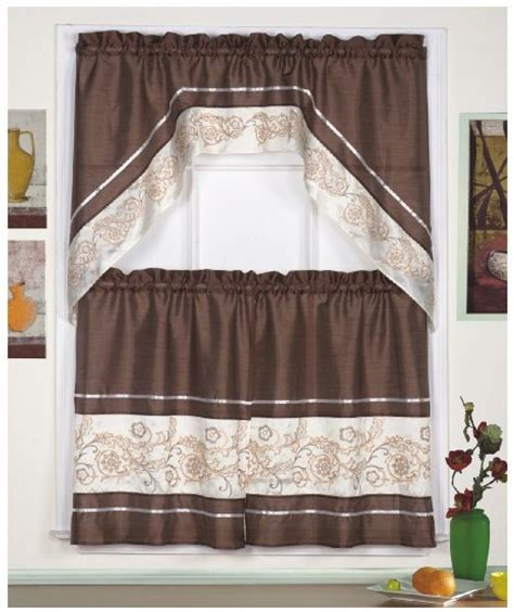 cafe kitchen curtains buy 3pc beige with yellow sunflower and butterfly kitchen cafe curtain tier and swag set in