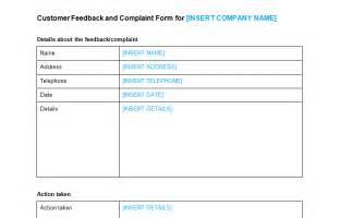 customer complaint template customer complaint form template bizorb