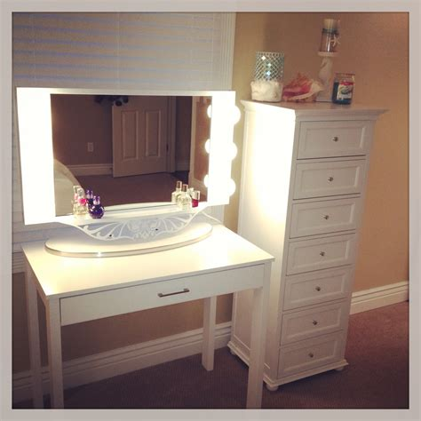 Lighted Makeup Vanity Table Narrow White Makeup Vanity Table With Storage And Lighted Mirror Set Decofurnish