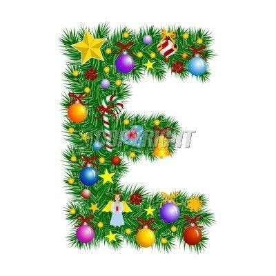 letter e letter e christmas tree decoration vector