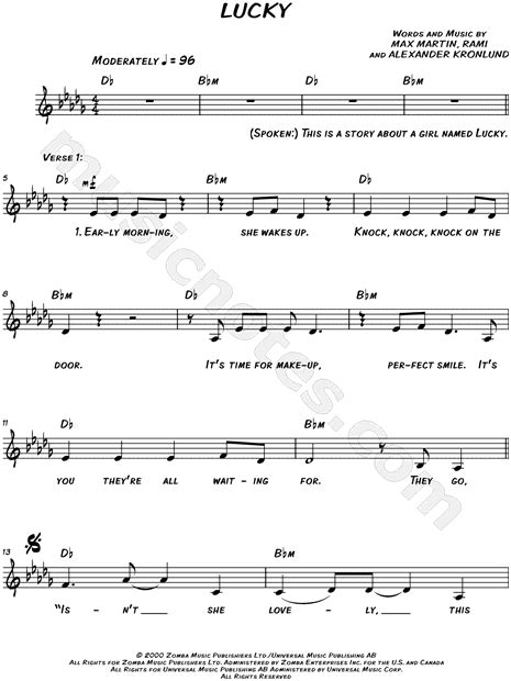britney spears lucky song free download britney spears quot lucky quot sheet music leadsheet in db major