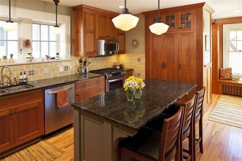 mission style kitchen island craftsman kitchen design what is typical for the