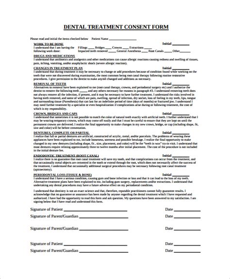 6 Sle Dental Consent Forms Sle Templates Informed Consent Form For Treatment Template