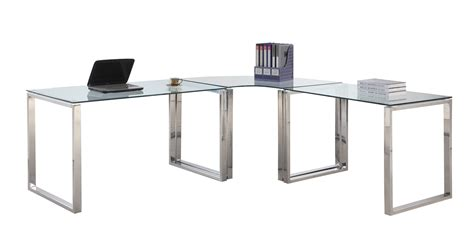 Stainless Steel Computer Desk Chintaly Imports 6931 Computer Desk Table Clear Glass Stainless Steel Ci 6931 Dsk At