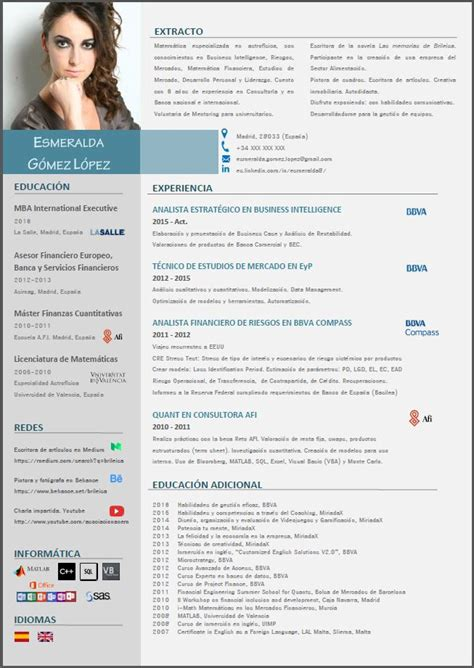 Plantillas De Curriculum Vitae Modernas dise 241 o de curriculum vitae esmeralda medium
