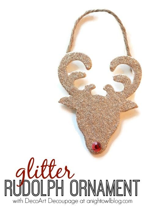 glitter reindeer ornaments a night owl blog