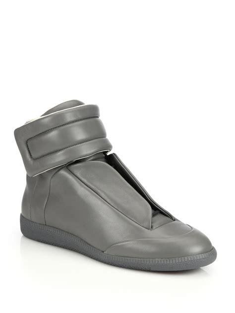 maison margiela future sneakers maison margiela 22 grey leather future hi top sneakers in