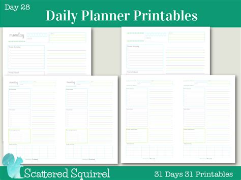 printable daily planner for work day 28 daily planner printables scatteredsquirrel