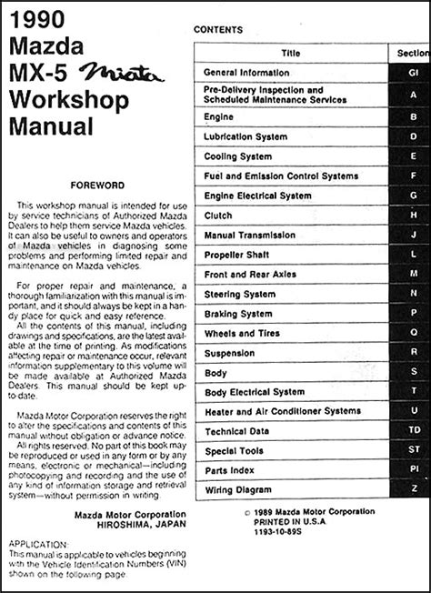 free auto repair manuals 1990 mazda mx 5 parking system 1990 mazda mx 5 miata repair shop manual original