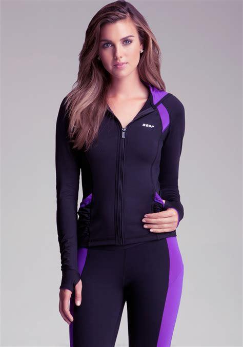 Matching Color Block Hoodie bebe ruched colorblock hoodie in purple lyst