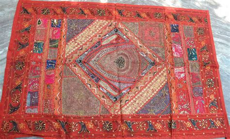 Beaded Rajasthani Tapestry Wall Hanging Pashmina Golden