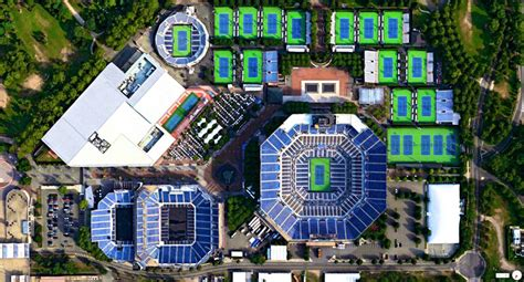 billie jean king national tennis center  york city   aerial satellite twistedsifter