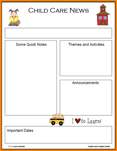 6 preschool newsletter templates art resumed