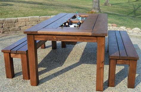 backyard table kruse s workshop patio party table with built in beer