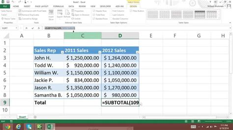 excel 2013 add in tutorial how to add total rows in excel 2013 total row formulas