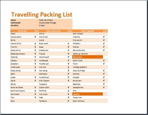 printable travelling packing list template word excel