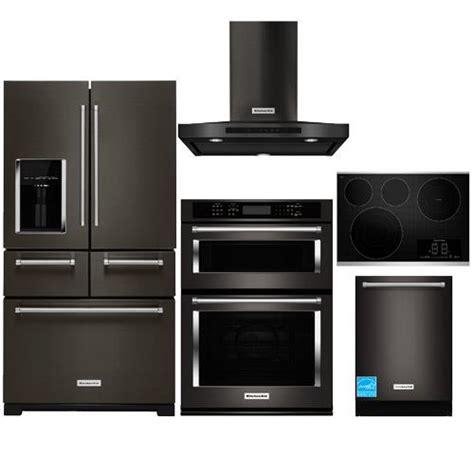 black kitchen appliance package kitchenaid krmf706ebs black stainless steel complete
