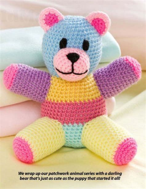 How To Make A Patchwork Teddy - w836 crochet pattern only patchwork teddy doll
