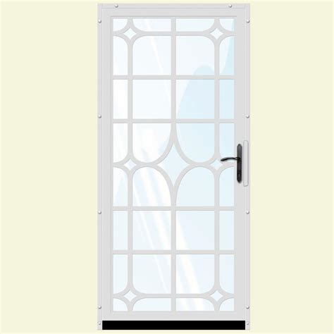 Glass Security Door Unique Home Designs 36 In X 80 In White Surface Mount Steel Security Door With