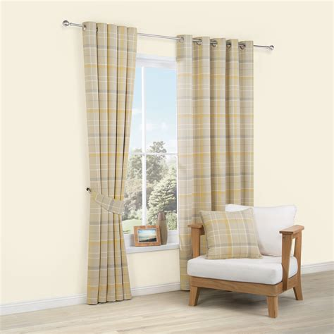 cream tartan curtains addison cream yellow tartan woven eyelet lined curtains
