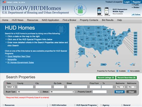 how to do a hud home search