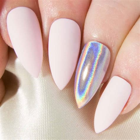 baby matte matte baby pink holographic chrome press on gel acrylic