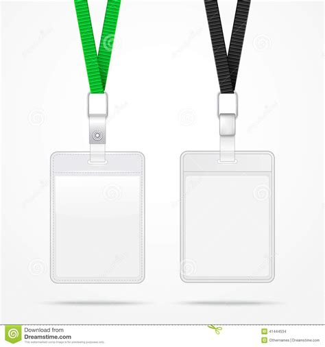 lanyard with tag badge holder stock illustration image