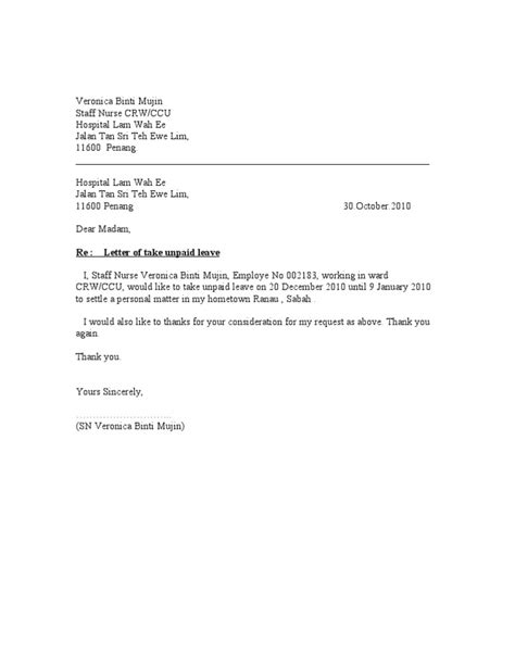 Formal Letter Sle For Unpaid Leave Unpaid Leave Letter