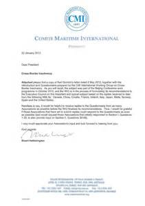 correspondence from the president comite maritime