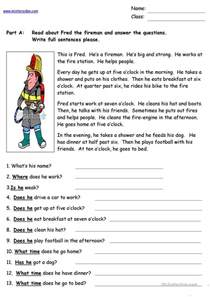 fred the fireman reading comprehension worksheet free