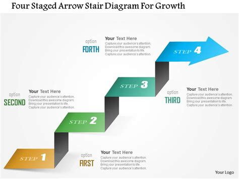 ppt templates for growth 0115 four staged arrow stair diagram for growth powerpoint