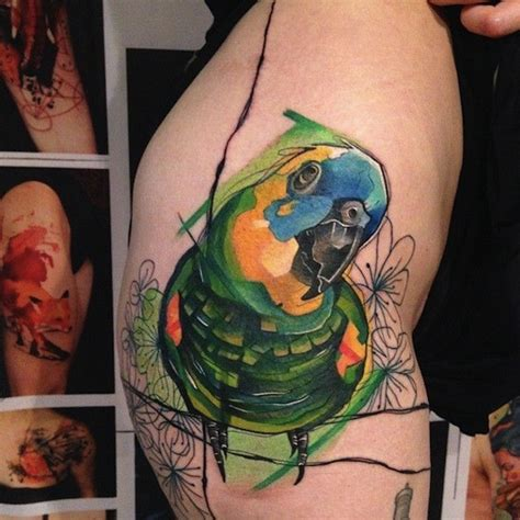 watercolor tattoo russia watercolor style colored of parrot