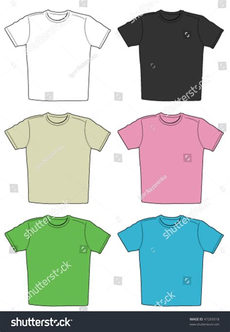 different color shirt in vector illustration of t shirts in different colors