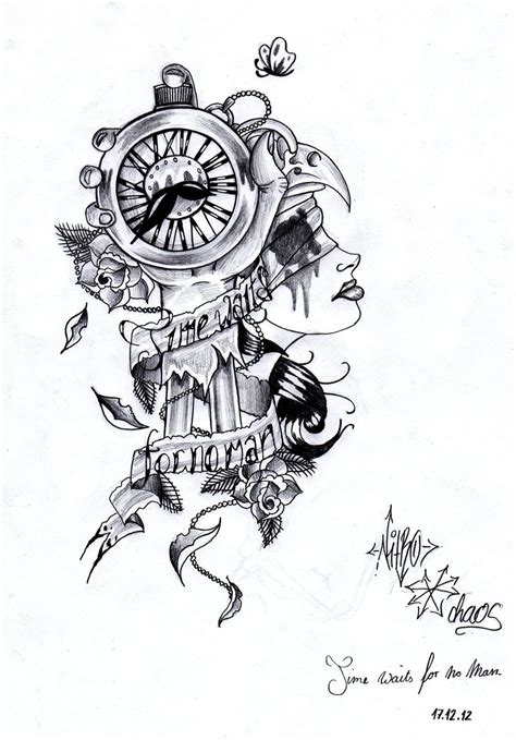 time tattoo ideas time waits for no by nitrobolts on deviantart