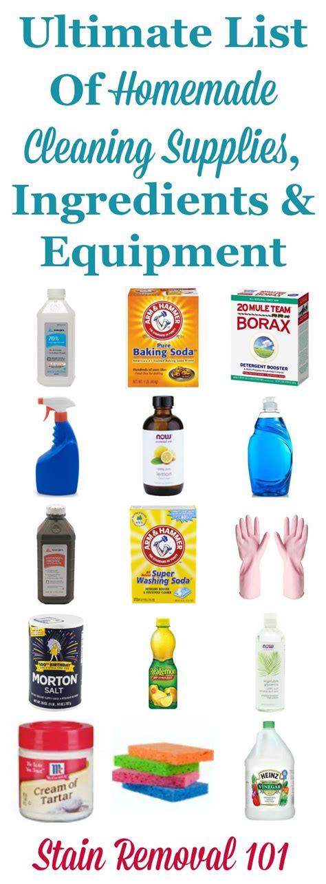 ultimate list of cleaning supplies ingredients and equipment