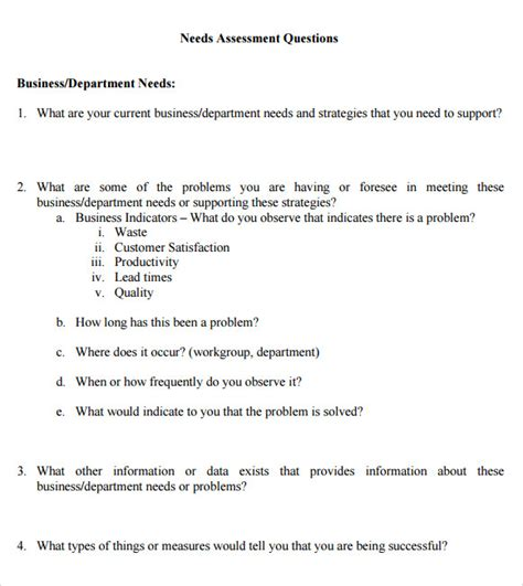 needs analysis questions template needs assessment 8 free for pdf word