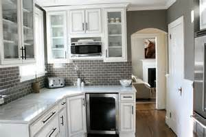 white cabinets with gray backsplash home design ideas brick tile kitchen transitional