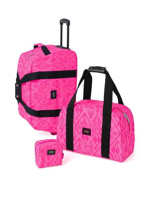 Secret Travel Bag Pink 1 3 p s secret pink aztec suitcase duffle luggage bag large wheelie ebay
