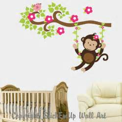 Monkey Stickers For Walls Girl Monkey Swinging On A Vine Wall Decal