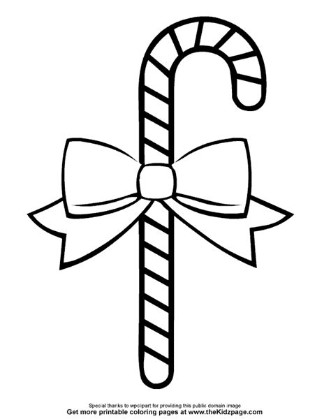 Candy Cane With A Bow Free Coloring Pages For Kids Bow Printable Coloring Page